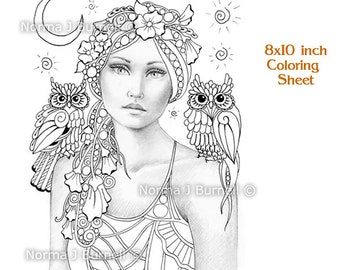 sweet pea the new moon fairy tangles grayscale printable coloring sheets fairies owl adult coloring - Fantasy Coloring Pages Adults