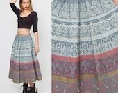 Vintage 50s PAINTED Circle Skirt Sequin Folk Print Swing Skirt Deadstock Studio CASA SILVA Italian Skirt
