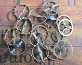 Vintage WATCH PARTS gears - Steampunk parts - c88 Listing is for all the watch parts seen in photos