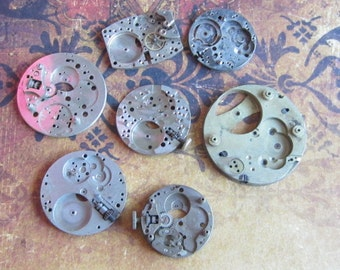 Vintage Antique Watch movements parts Steampunk - Scrapbooking e75