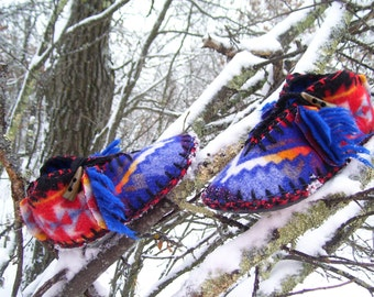 Feathered Snowbirds Song-  Felted Blanket Wool Moccasins / Lined / Sheepskin & Wool Insoles / Leather Soles - Women's Sizes