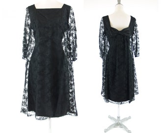 Vintage Black Lace 1960s Cocktail Dress S // small Vintage 60s // Low back with bow // holiday