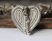 Silvertone And White Vintage Zipper Brooch - Reuse - Repurpose - Recycle