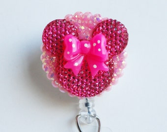 Minnie Mouse Hot Pink Shimmery Silhouette ID Badge Reel - RN ID Badge Holder - Zipperedheart