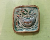 Bird Brooch,coloful glazes,nature,embossed,mid range clay,porcelain,blue greens