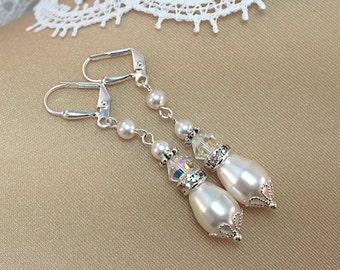 Pearl Teardrop Crystal Earrings, Swarovski Pearl Earrings, Bridal Earrings,
