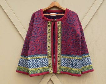 vintage Norwear Nordic Colorful Wool Cardigan Sweater