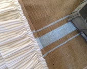 French GrainsackBurlapTable Runner with Khaki Ticking Ruffles  Cottage/Farmhouse/Coastal/Beach
