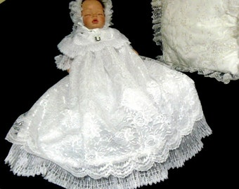CHRISTENING GOWN White Lace over Satin for REBORN Doll or Baby size 0-3 Month