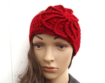 Red Flowered Ear Warmer with Red Flower- Wrap Around Cold Weather accessory - Cranberry Red winter accessory - Ready to Ship
