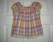 Upcycled Boho Shirt Top   Size 6-8