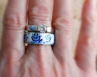 Portugal Antique Azulejo Tile Replica STAINLESS STeEL Ring Set - Stackable 1837 Delft Blue US size 9, UK size S, 19mm