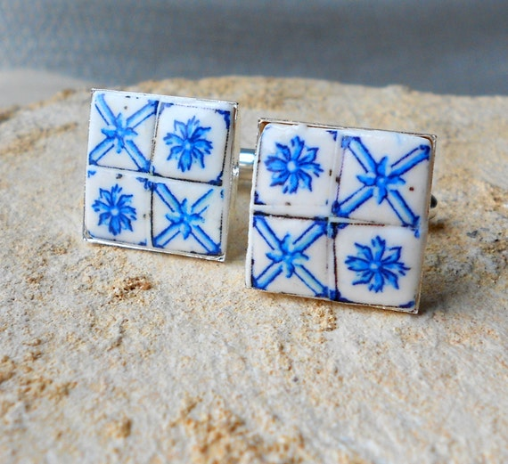 Portugal Blue Delft  AZULEJO  AntiqueTile Replica Cufflinks - Pombaline - Ovar (see photo of actual facade) 17mm