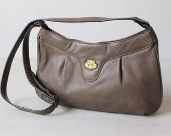 Cross Body Bag / Etienne Aigner Purse / Leather / Taupe