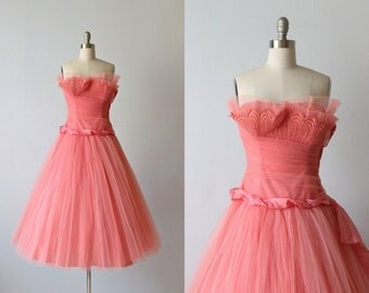 Vintage 1950s Dress / Prom Dress / Party Dress / Formal Dress / Coral Pink  / Sweet Nothings