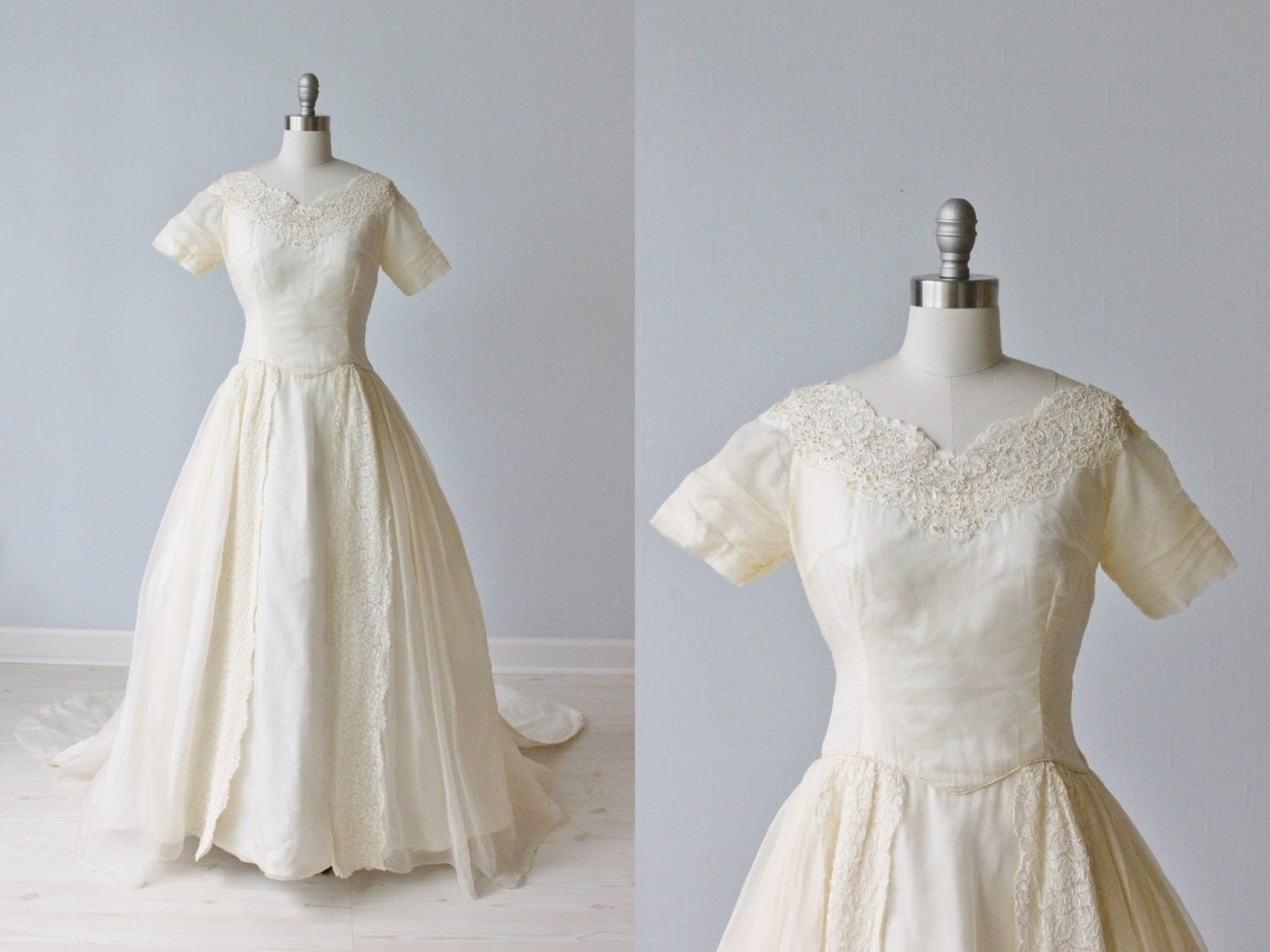 1950s wedding dress silk organza wedding dress ballgown