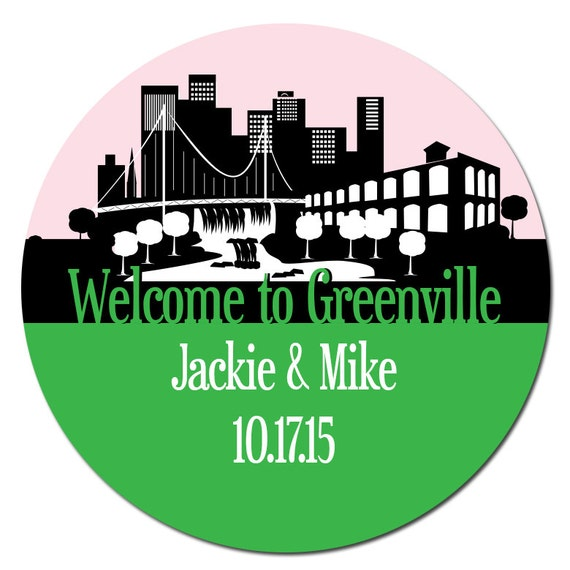 Greenville Sc Custom Wedding Welcome Stickers Skyline