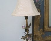French Table Lamp with Lavender Porcelain Roses Tole Bedroom  Boudoir Vanity Petite