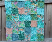 Rag Crib Quilt, Violette, comfy cozy handmade baby bedding baby, Granny Chic in Modern fabrics, orange green turquoise, READY TO SHIP