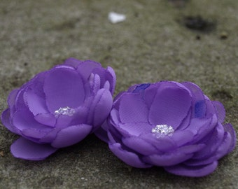 Lilac Purple Flower Hair Pins - Brooches - Shoe Clips Set of 2