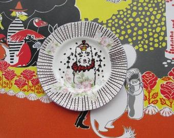 Original alexmillerdesigns illustrated decorative plate, 'Harlequin Rose Peeps'.