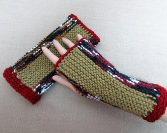 Fingerless Gloves in Burgundy, Olive Green, Deep Green, White, Gold and Black - Ready To Ship