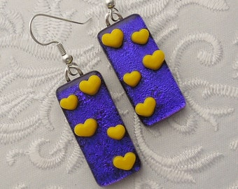 Heart Jewelry - Valentine Earrings - Dichroic Fused Glass Earrings - Heart Earrings - Stick Earrings - Heart - Blue Earrings X3548