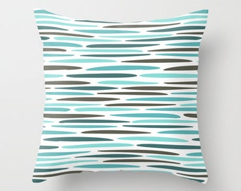 Water ripple pillow cover, beach pillow, stripe beach cushion, blue striped art, striped throw pillow, beach house decor patio water ripples