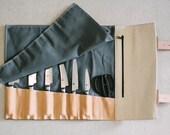 """Grey Waxed Canvas & Vegetable Tanned Leather // """"waxed knife roll"""" by fullgive in grey and natural"""
