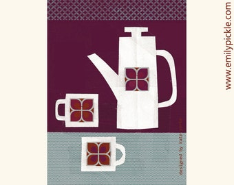 Retro Coffee Pot Tea Towel, kitchen textiles, printed in the UK, mothers day, new home, gift