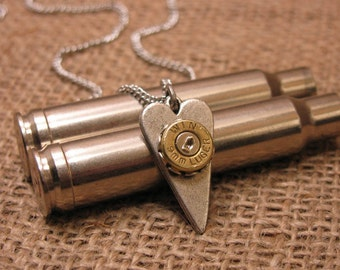 Bullet Jewelry - VALENTINES Gift Idea - I Love You Necklace - Heart Jewelry - Petite Silver Elongated Heart w/9mm Bullet Casing Necklace