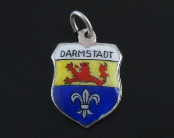 Vintage Sterling Silver Darmstadt Enamel Travel Shield Coat of Arms Charm