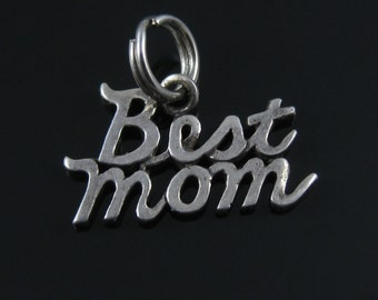 Sterling Silver Best Mom Charm