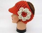 Crochet Sun Visor - Women's Headband With Brim - Mango Ear Warmer - Visor Head Wrap With Detachable Flower - Flower Headband