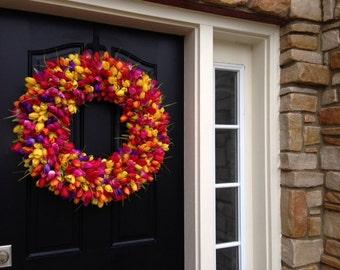 Wreaths, XL Spring Door Wreaths, Tulip Wreaths, Tulips, Front Door Wreath, Door Wreath, Spring Tulips, Mother's Day Wreath, Trending Wreaths