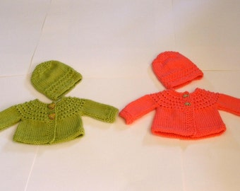 Hand Knitted - Lime Green or Coral Baby Sweaters with matchng frog or fish buttons