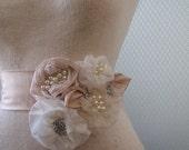 Sash, Bridal Sash, Off white champange color  belt,  Bridal Sash belt, wedding sash, belt  With  ONE UNIQUE  FLOWER ready toship