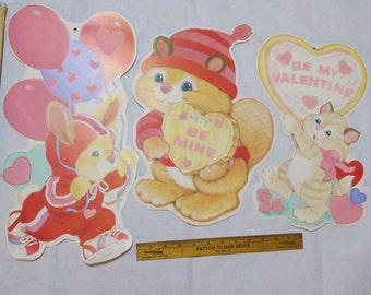 Flocked Valentines Party Decorations Vintage Eureka Die Cut  Poster Bulletin Board Wall Art Paper Ephemera Pink Kitty Bunny Valentine Kitsch