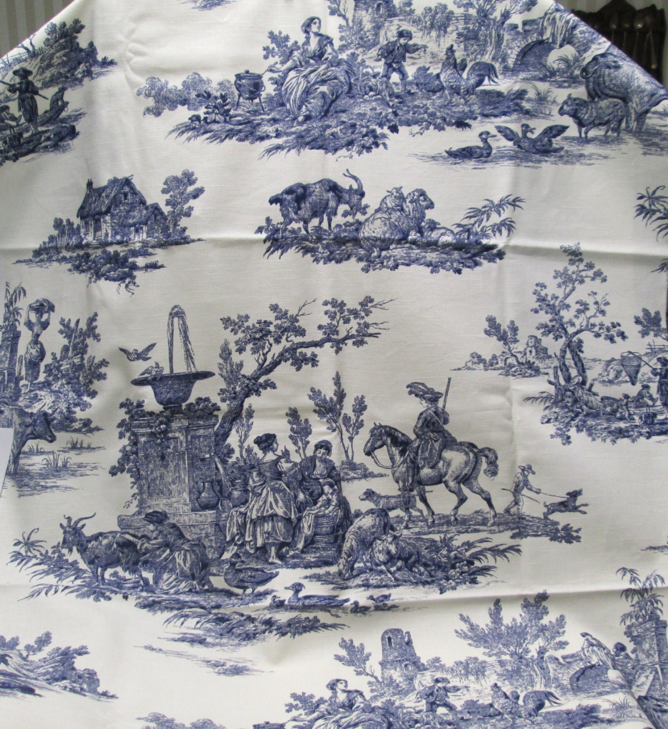 french toile fabric home decor navy blue ivory toile print. Black Bedroom Furniture Sets. Home Design Ideas
