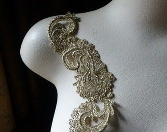 GOLD Lace Applique for Bridal, Jewelry Supply, Altered Couture, Costume Design CA 102S