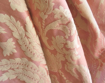 "Vintage Decorator Damask Fabric in Peach and Rich Ivory 40"" x 62"" Wide Circa 1940's"