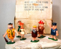 1973 Flintstones figures, Fred Wilma, Barney, 6 Plastic Painted, British Colony of Hong Kong, Estate Purchase, I have other figures too
