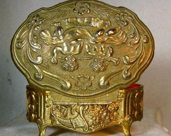 Cherub Box, Tiny Metal Hinged Valentine Jewelry Box, Ornate Light Goldtone Dresser or Office Desk Box, Red Lining