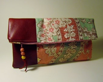 Fold-over Clutch Wine Leather with Pink, Wine and Mint Floral Printed Cotton