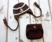 Newborn Baby Boy Foot Ball Ear Flap Hat and Diaper Cover Set Brown