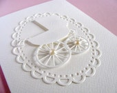 Vintage Baby Carriage, Pram, Buggy on Scalloped Oval Doily on Creamy Ivory Card. Baby Shower, Baby Boy, Baby Girl. A2 Size