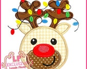 Happy Reindeer with Lights Applique 4x4 5x7 6x10 7x11 svg Machine Embroidery Design Christmas Holiday INSTANT