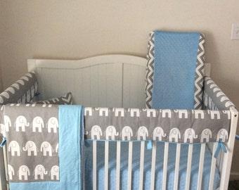 Complete Bumperless Crib Bedding Set Light Blue And Gray Elephants