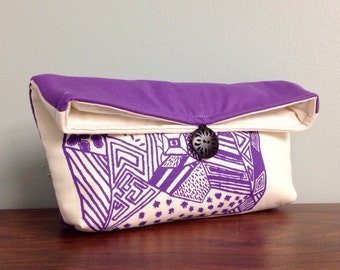 Screenprinted Clutch, Purple Clutch, Geometric Clutch Purse, Cosmetic Makeup Bag, Gadget Bag, Purple Purse