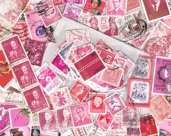 Pink Postage Stamps - pink & mauve used stamp packet, vintage + recent world stamps for craft, collage, upcycling, collecting, all off paper
